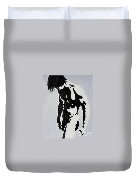 Original Black An White Acrylic Paint Man Gay Art -male Nude#16-2-4-17 Duvet Cover