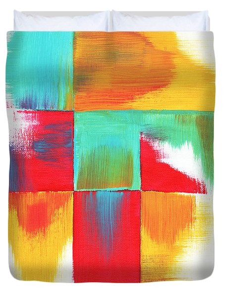 Original Bold Colorful Abstract Painting Indecisive By Madart Duvet Cover by Megan Duncanson