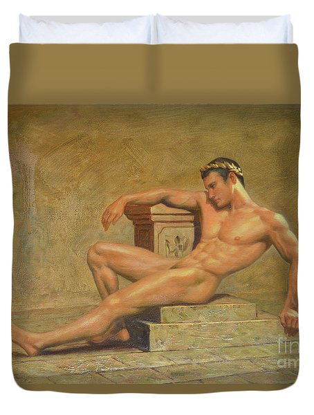 Original Classic Oil Painting Gay Man Body Art Male Nude -023 Duvet Cover by Hongtao     Huang