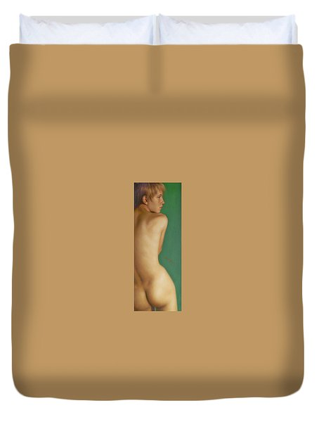 Original Classic Oil Painting Man Body Art-the Young Male Nude#16-2-1-07 Duvet Cover by Hongtao     Huang