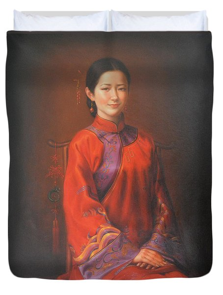 Original Classic Portrait Oil Painting Woman Art - Beautiful Chinese Bride Girl Duvet Cover by Hongtao     Huang