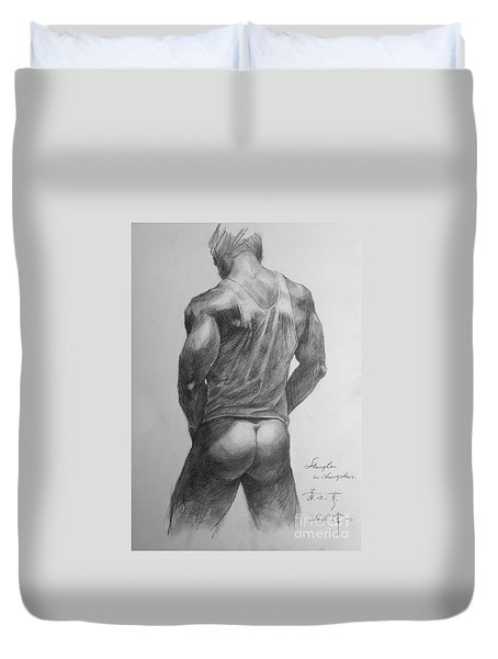 Original Man Gay Pencil Drawing Sketch Art On Peper By Hongtao Duvet Cover by Hongtao     Huang