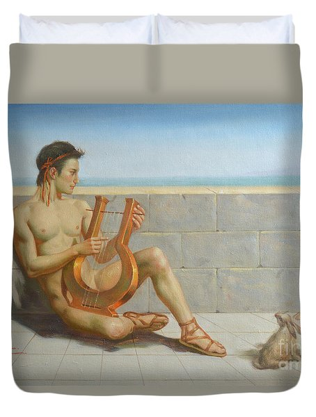 Original Oil Painting Gay Man Art-male Nude And Rabbit#16-02-5-41 Duvet Cover