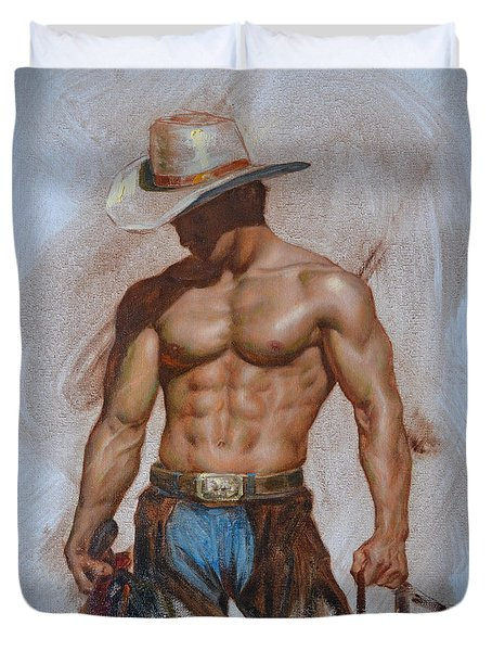 Original Oil Painting Gay Man Body Art-cowboy#16-2-5-19 Duvet Cover by Hongtao     Huang