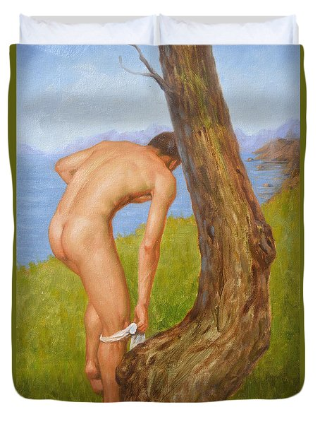 Original Oil Painting Man Body Art Male Nude-029 Duvet Cover by Hongtao     Huang