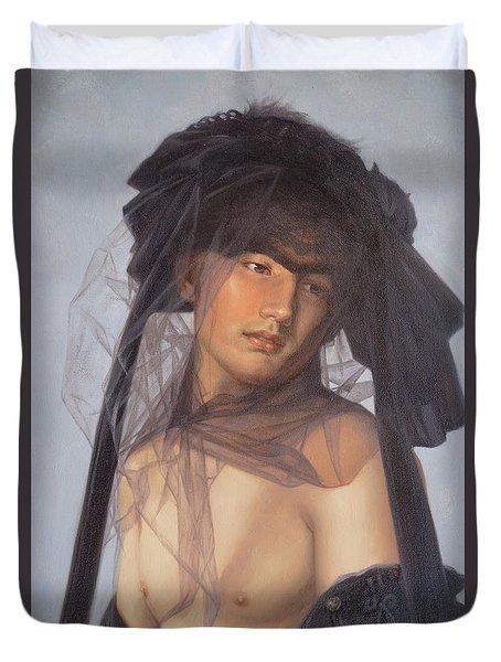 Original Oil Painting  Man Body Art-  Male Nude-053 Duvet Cover