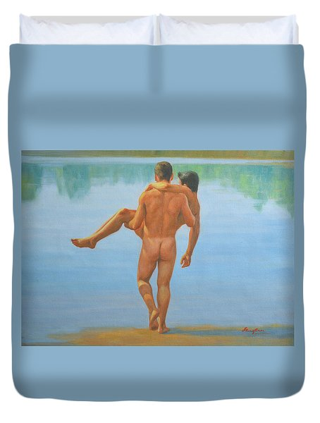 Original Oil Painting Man Body Art -male Nude By The Pool -073 Duvet Cover by Hongtao     Huang