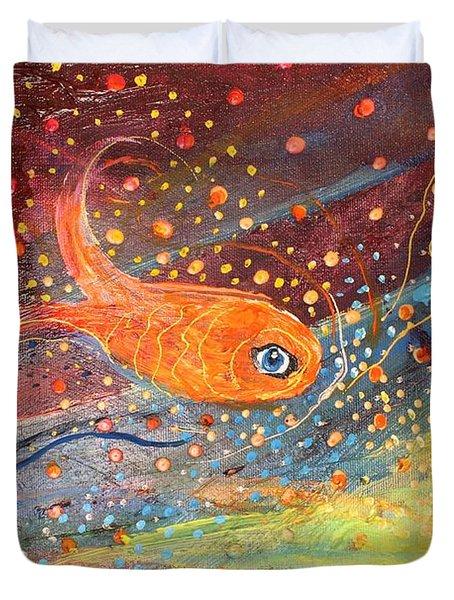 Original Painting Fragment 09 Duvet Cover by Elena Kotliarker
