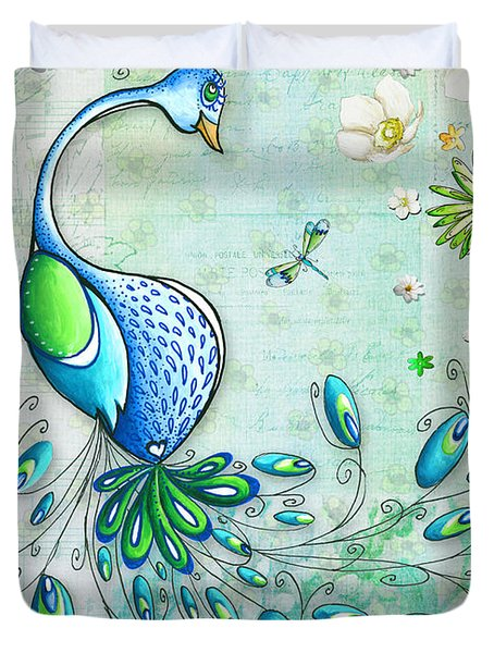 Original Peacock Painting Bird Art By Megan Duncanson Duvet Cover
