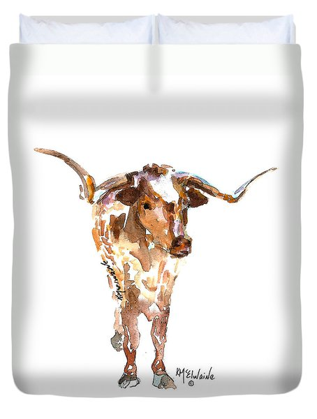 Original Longhorn Standing Earth Quack Watercolor Painting By Kmcelwaine Duvet Cover by Kathleen McElwaine