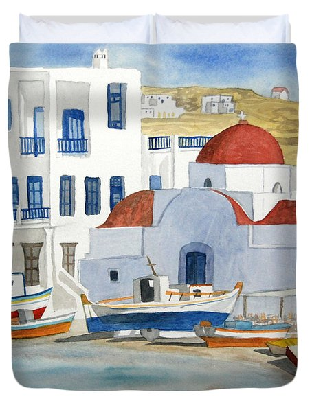 Watercolor - Mykonos Greece Detail Duvet Cover