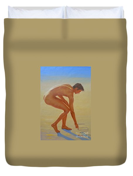 Original  Young Man Body Oil Painting  Gay Art - Male Nude By The Sea-055 Duvet Cover