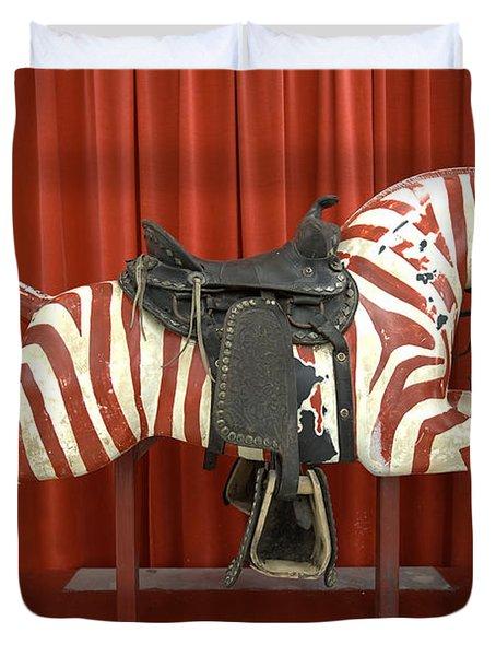 Original Zebra Carousel Ride Duvet Cover by Liane Wright