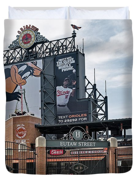 Oriole Park At Camden Yards Duvet Cover by Susan Candelario