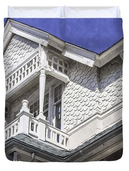 Ornate Balcony With View Duvet Cover by Lynn Palmer