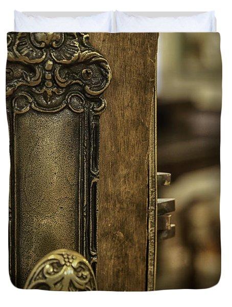Ornate Brass Doorknob Duvet Cover by Lynn Palmer