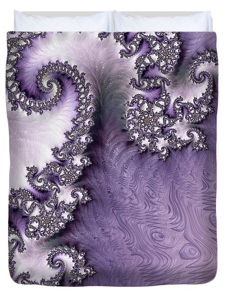 Ornate Lavender Fractal Abstract One  Duvet Cover by Heidi Smith