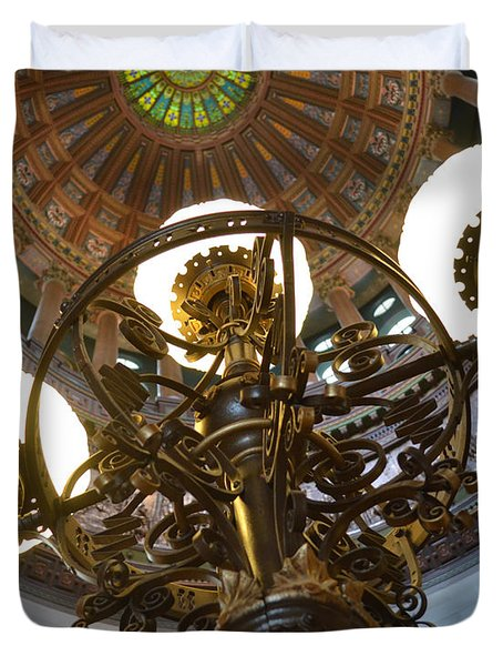 Ornate Lighting - Sprngfield Illinois Capitol Duvet Cover by Luther Fine Art
