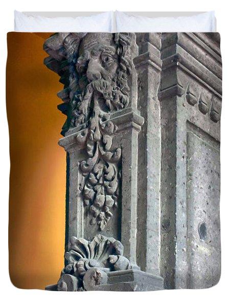 Ornate Mexican Stone Column Duvet Cover by Lynn Palmer