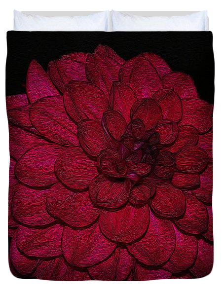 Ornate Red Dahlia Duvet Cover by Jeanette C Landstrom