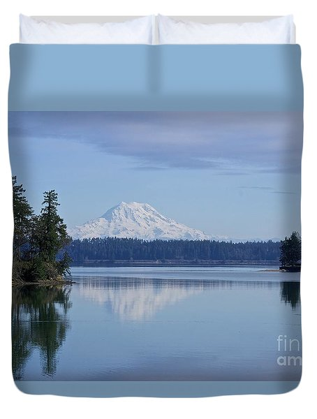 Oro Bay Reflection Duvet Cover by Sean Griffin