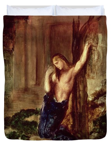 Orpheus At The Tomb Of Eurydice Duvet Cover by Gustave Moreau