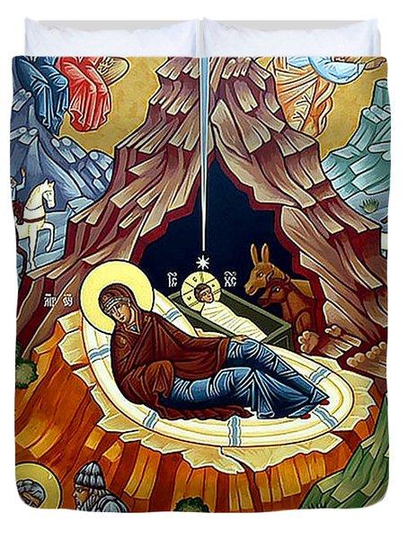 Orthodox Nativity Of Christ Duvet Cover