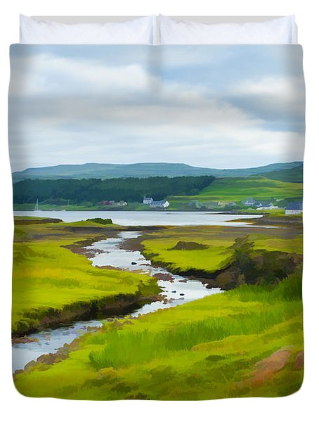 Osdale River Leading Into Loch Dunvegan In Scotland Duvet Cover