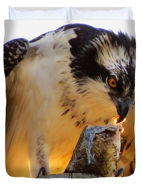 Duvet Cover featuring the photograph Osprey Breakfast by Dianne Cowen