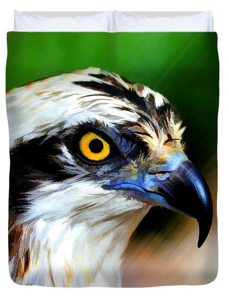 Osprey Portrait Duvet Cover by Dan Friend