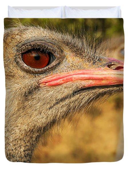 Ostrich Closeup Duvet Cover by Jess Kraft