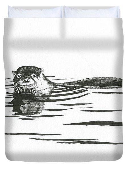 Otter In The Water Duvet Cover
