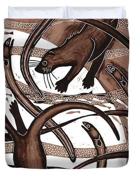 Otter With Eel, 2013 Woodcut Duvet Cover