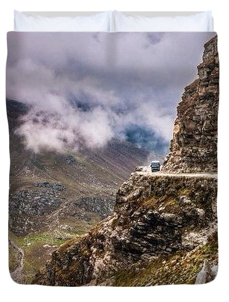 Our Bus Journey Through The Himalayas Duvet Cover