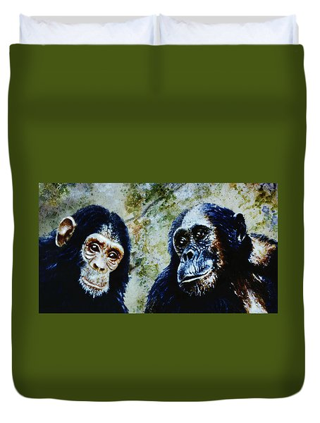 Duvet Cover featuring the painting Our Closest Relatives by Hartmut Jager