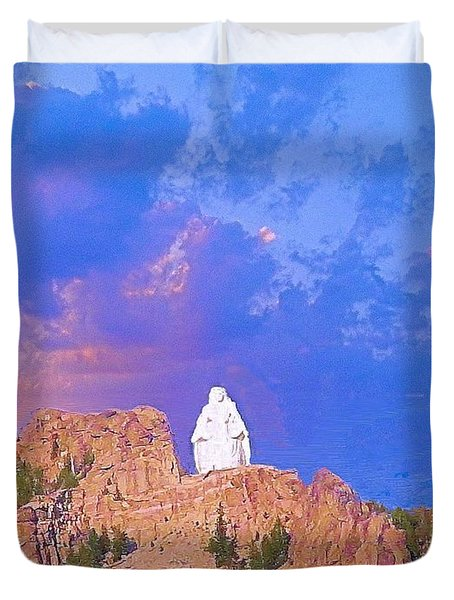 Duvet Cover featuring the photograph Our Lady Of The Rockies by Janette Boyd