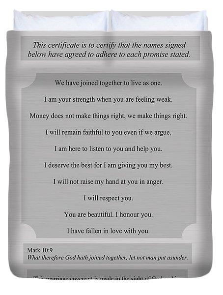 Our Promises Certificate Duvet Cover