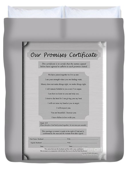Our Promises Certificate Duvet Cover