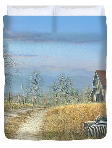Duvet Cover featuring the painting Our Time Has Come And Gone by Mike Brown