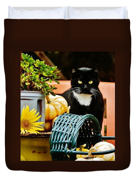 Duvet Cover featuring the photograph Our Tuxedo In Fall by VLee Watson