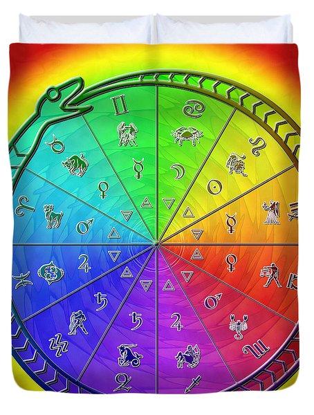 Ouroboros Alchemical Zodiac Duvet Cover by Derek Gedney