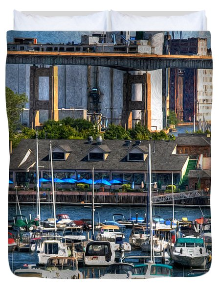Out At The Harbor V3 Duvet Cover by Michael Frank Jr