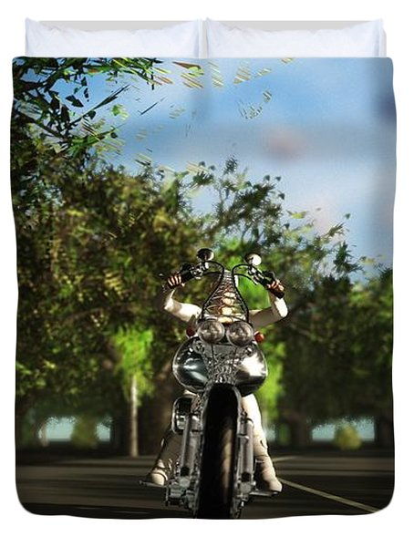 Duvet Cover featuring the digital art Out For A Ride... by Tim Fillingim