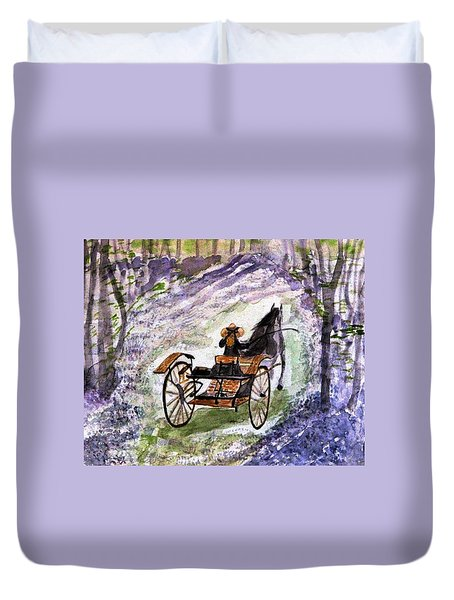 Out In The Meadowbrook Cart Duvet Cover