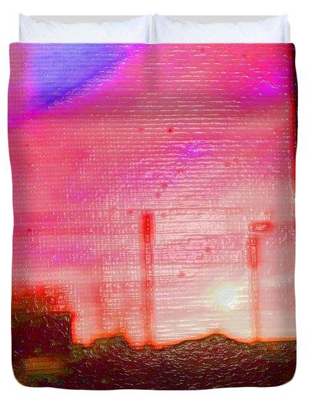 Out My Back Window 6 Am V3 Duvet Cover by Lenore Senior