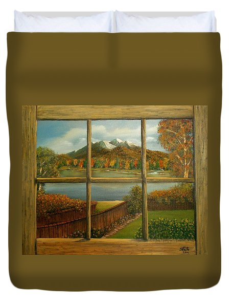 Duvet Cover featuring the painting Out My Window-autumn Day by Sheri Keith