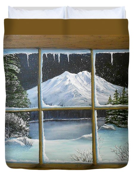 Out My Window-bright Winter's Night Duvet Cover by Sheri Keith