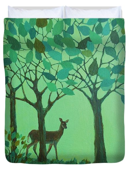 Out Of The Forest Duvet Cover by Mary Wolf