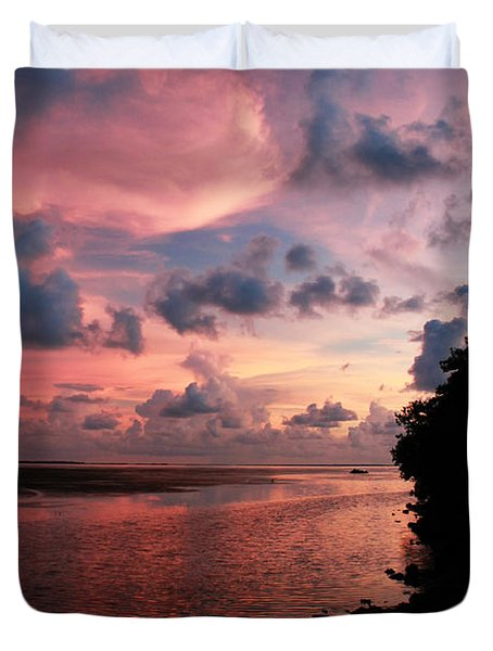 Out With A Roar Sunset Over Water Tarpon Springs Florida Duvet Cover by Robin Lewis