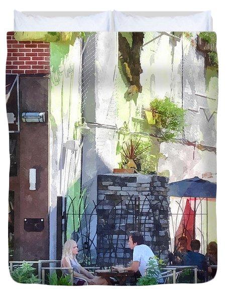 Outdoor Cafe Philadelphia Pa Duvet Cover
